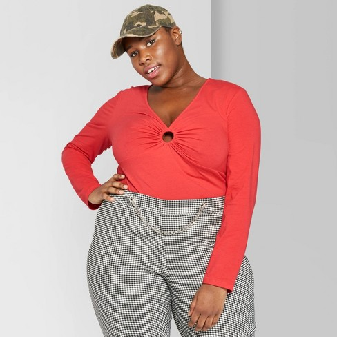 bf72004ac4b0a6 Women's Plus Size Long Sleeve O-Ring Detail T-Shirt - Wild Fable™ Red :  Target