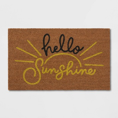 "1'6""X2'6"" Hello Sunshine Coir Doormat Beige - Threshold™"