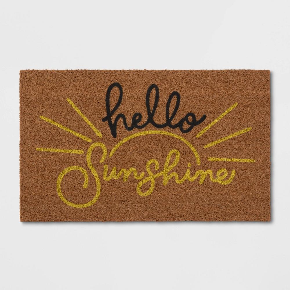 Hello Sunshine Coir Doormat Beige