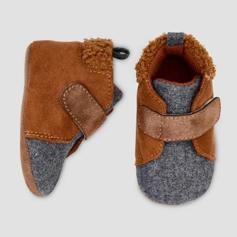 Baby Boys' Mid Top Sneaer Sherpa Crib Shoes - Cat & Jack™ Brown - image 1 of 1