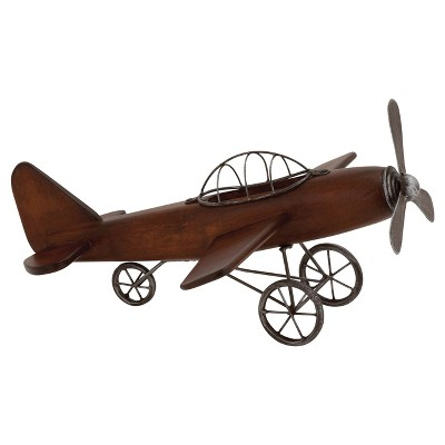 """Vintage Reflections Rustic Wood and Iron Vintage-Style Model Plane (16"""") Olivia & May"""
