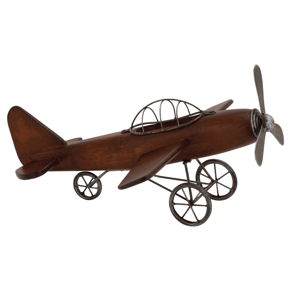 Vintage Reflections Rustic Wood and Iron Vintage-Style Model Plane (16) Olivia & May, Multi-Colored
