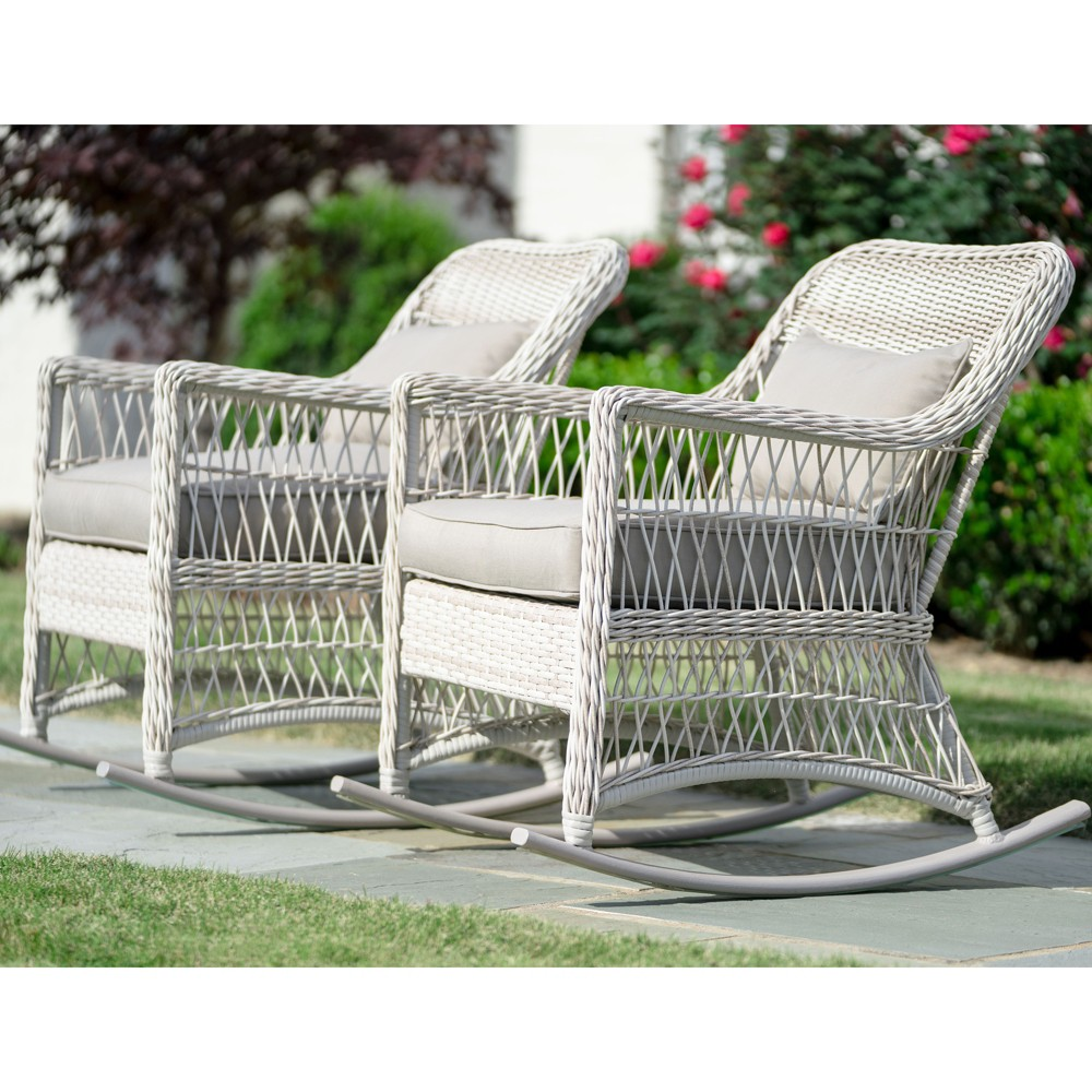 Image of 2pk Pearson All-Weather Wicker Rocking Chairs - Leisure Made