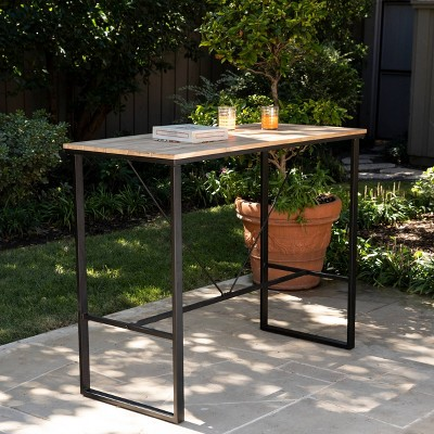 4-Person Rockshire Rectangle Pub Table - Natural and Black - Aiden Lane