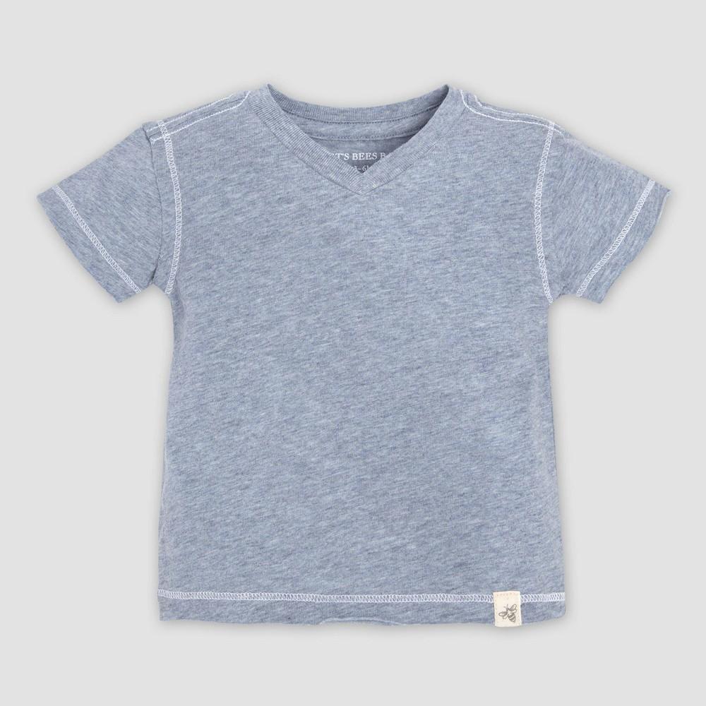 Burt's Bees Baby Baby Boys' Organic Cotton Short Sleeve Reverse Seam V-Neck T-Shirt - Blue 12M