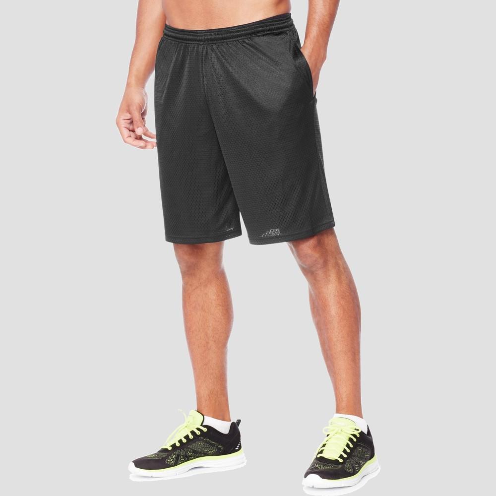 Hanes Sport Mens 9 Long Mesh Shorts - Black S Buy