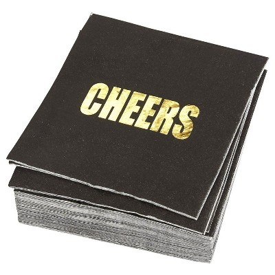 """Blue Panda 50 Pack Gold Foil Cheers Disposable Paper Napkin Black 5"""" Baby Bridal Shower Party Supplies"""