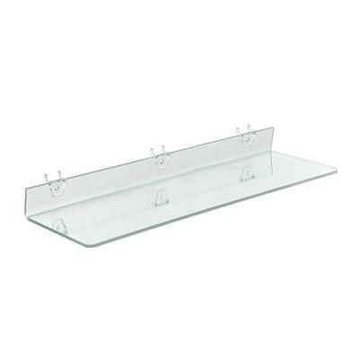 "Azar Displays 20"" X 8"" 4pk Clear Acrylic Shelf For Pegboard and Slatwall"