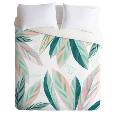 Zoe Wodarz Painterly Palm Comforter Set - Green Deny Designs