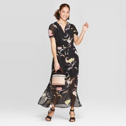 338796fc95 Women s Floral Print Casual Fit Short Sleeve Deep V-Neck Chiffon Maxi Dress  - A