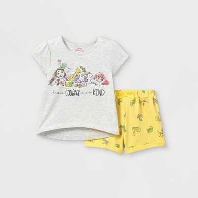 Toddler Girls' Disney Princess Short Sleeve French Terry Top and Bottom Set - Yellow