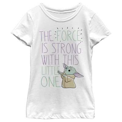 Girl's Star Wars The Mandalorian The Child The Force is Strong T-Shirt
