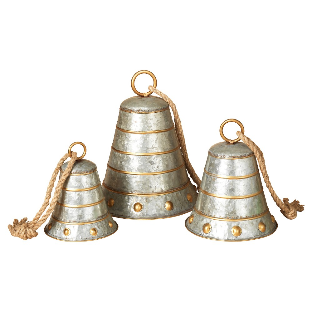 Metal Galvanized Silver Bells 3ct