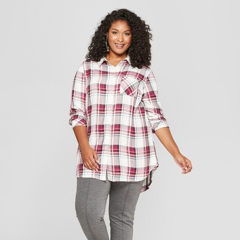 3f7cff88a Women's Plus Size Plaid Button-Down Long Sleeve Tunic - Ava & Viv™ Berry/ White