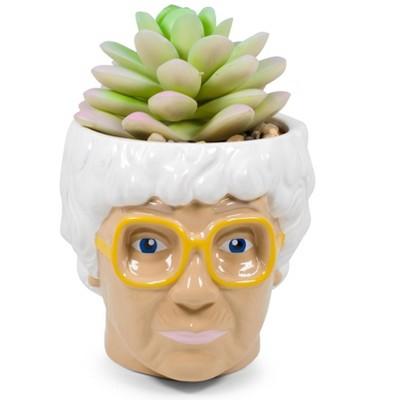 Silver Buffalo The Golden Girls Sophia Face Mini Ceramic Planter With Faux Succulent | 3 Inches