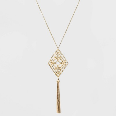 Filigree and Tassel Long Necklace - A New Day™ Gold