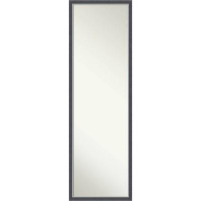 Eva Thin Framed Full Length on the Door Mirror Black/Silver - Amanti Art