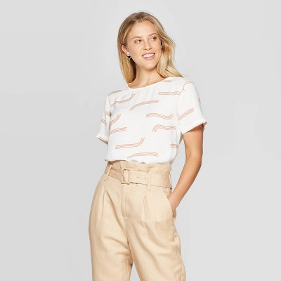 Women's Short Sleeve Round Neck Crepe T Shirt   A New Day Cream by Shirt