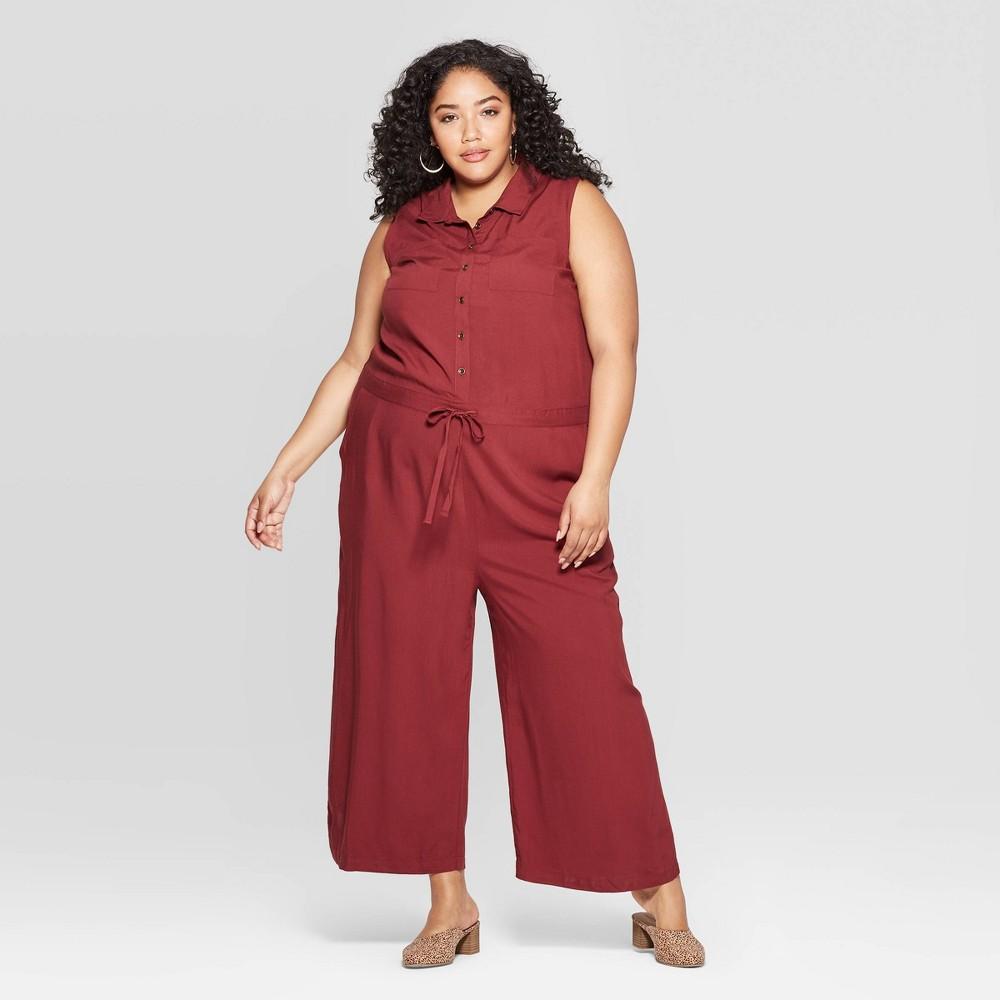 Women's Plus Size Sleeveless Utility Jumpsuit - Universal Thread Burgundy (Red) 2X