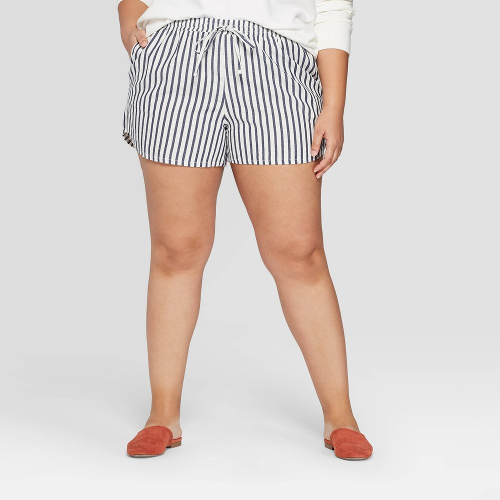 Women's Plus Size Striped Mid-Rise Pull On Shorts - Universal Thread Blue/White 2X