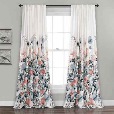 """95""""x52"""" Zuri Flora Room Darkening Window Curtain Panels Blue/Coral - Lush Décor"""