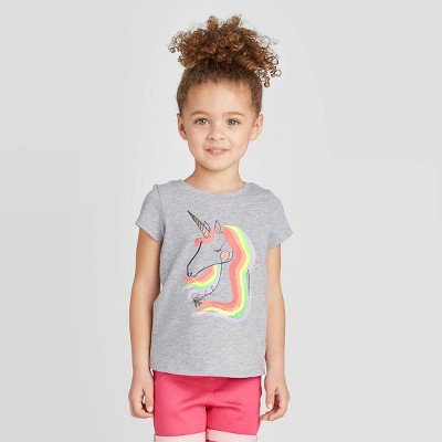 Toddler Girls' Short Sleeve Unicorn Graphic T-Shirt - Cat & Jack™ Gray 12M