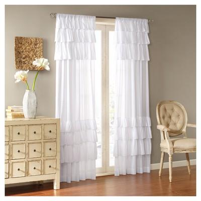Ariana Anna Oversized Ruffle Curtain Panel - White (50 x84 )