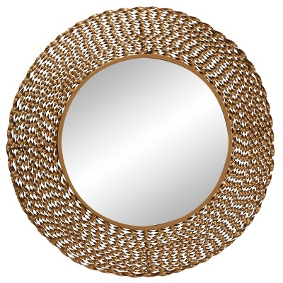 """35"""" x 35"""" Modern Style Large Round Twisted Metal Wall Mirror Gold - Olivia & May"""