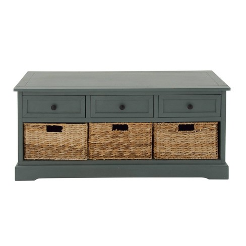 Wood Cabinet with Wicker Storage Basket Drawers Blue - Olivia & May - image 1 of 4