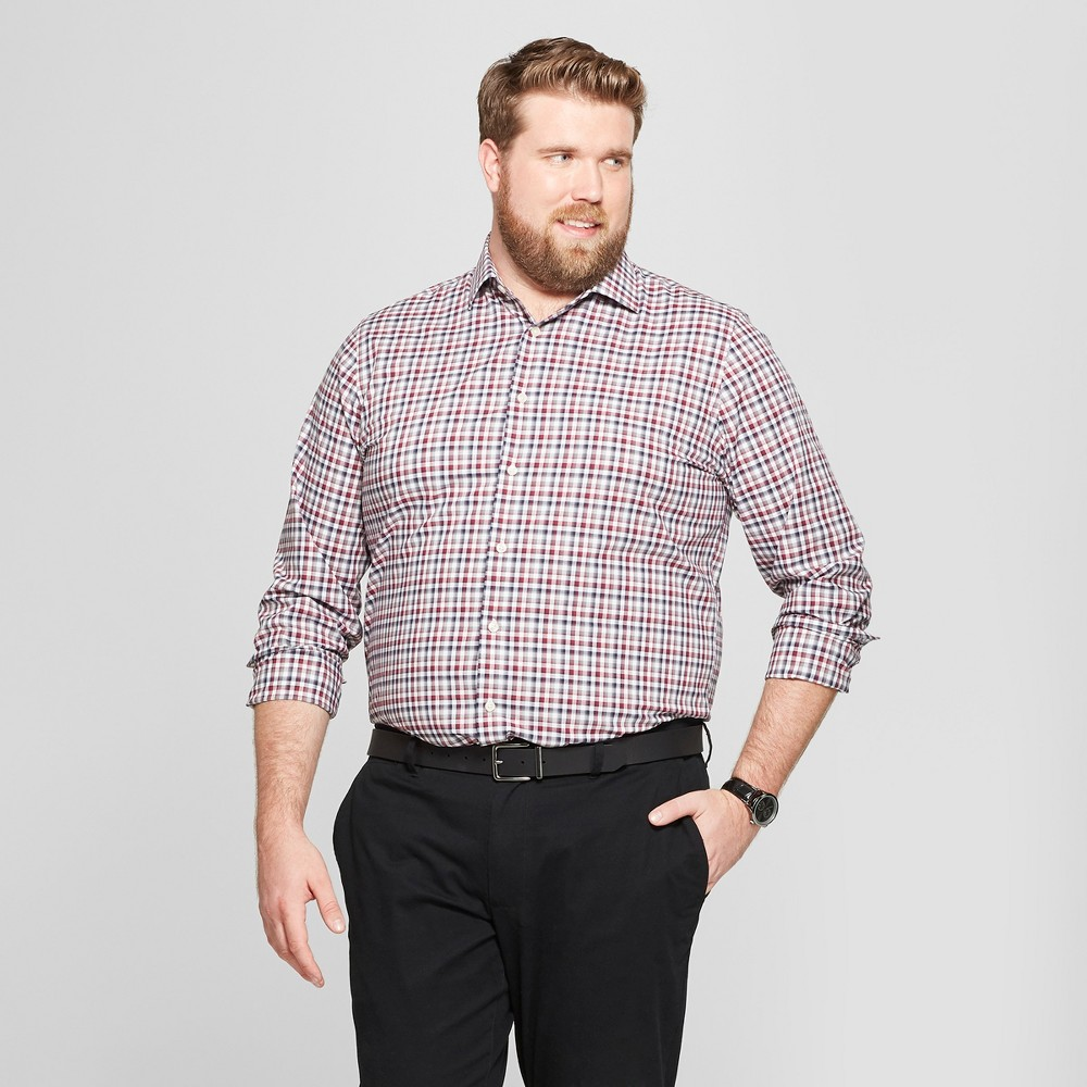 Men's Tall Standard Fit Long Sleeve Button-Down Shirt - Goodfellow & Co Berry Cobbler MT