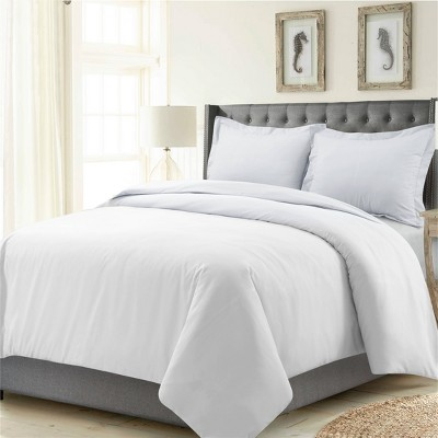 3pc Queen Madrid Solid Oversized Duvet Cover Set White - Tribeca Living