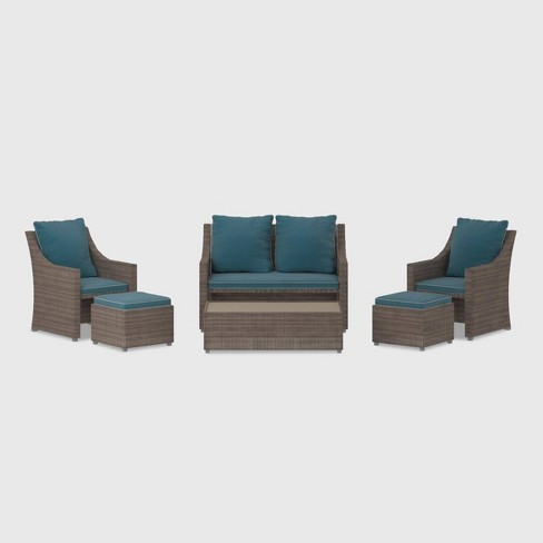 Cosco 6pc Wicker Patio Outdoor Set - Gray - image 1 of 4
