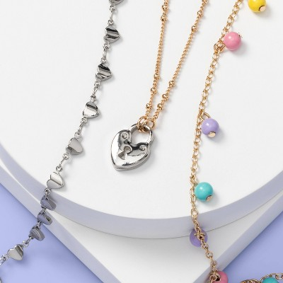 Girls' 3pk Poms and Heart Layered Necklace Set - More Than Magic™