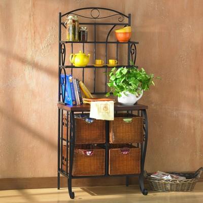 Baker's Rack with Wicker Storage - Iron/Black - Aiden Lane