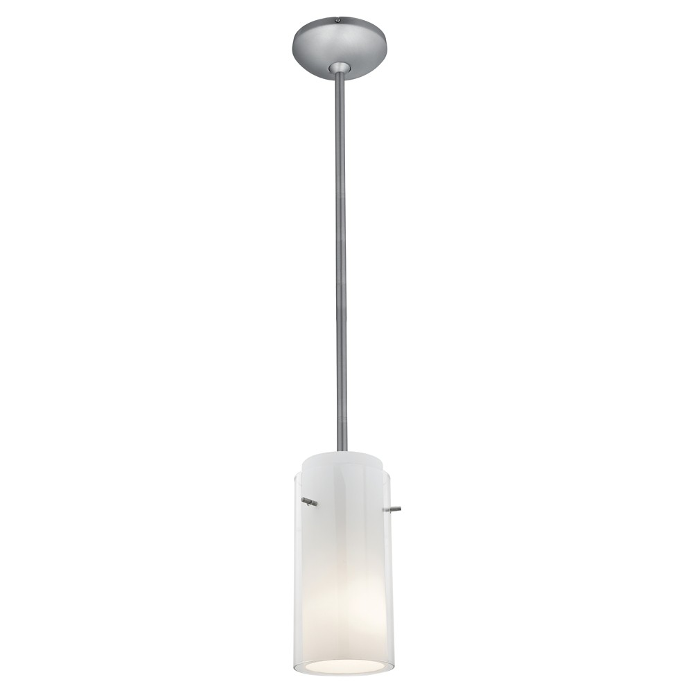 Glass 'n Glass Rod Pendant with Clear Opal Glass Shade - Brushed Steel