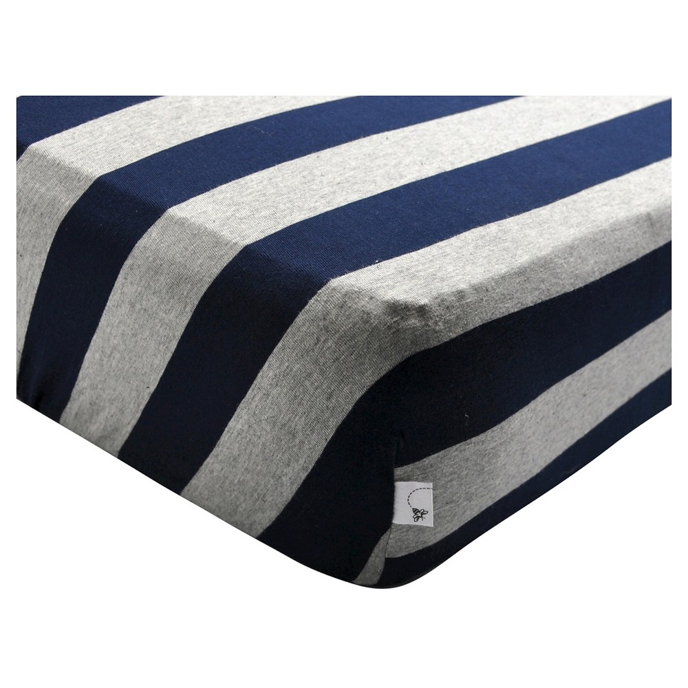 Image of Burt's Bees Baby Fitted Crib Sheet - Wide Stripe Blueberry