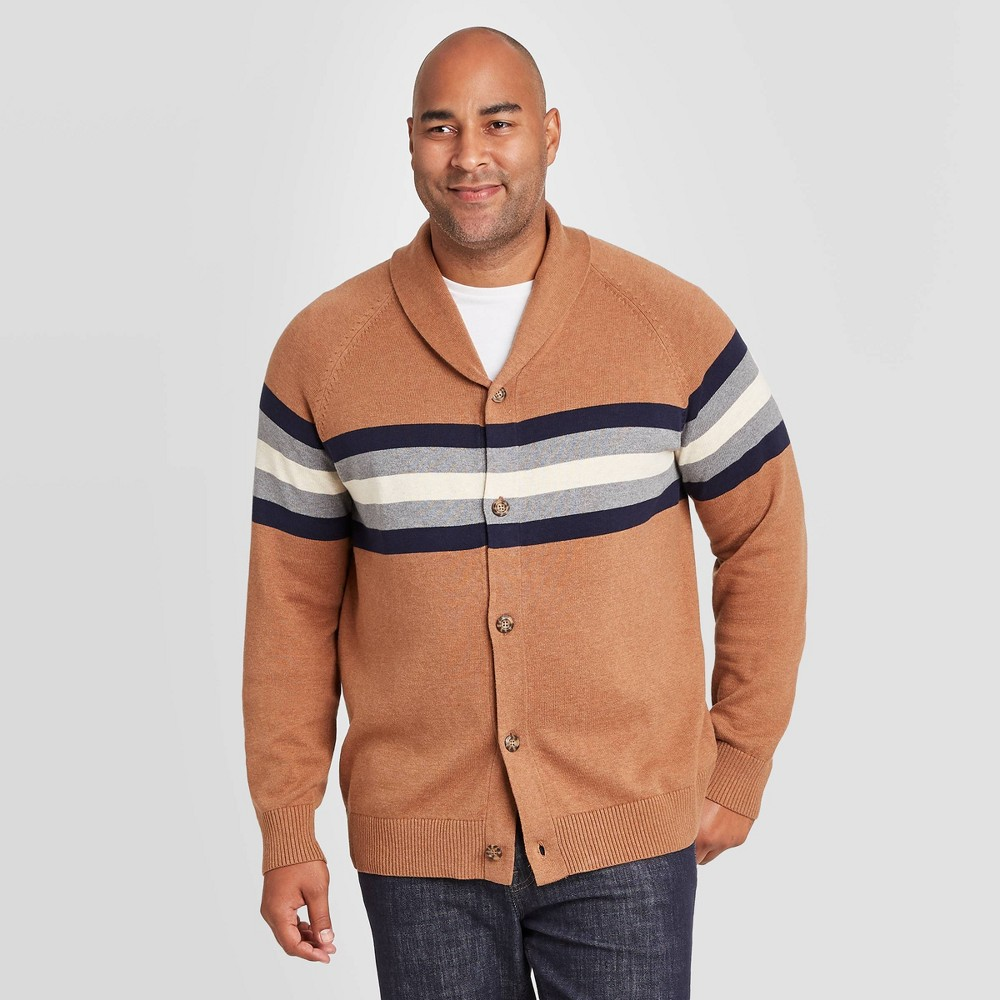 Men's Vintage Sweaters, Retro Jumpers 1920s to 1980s Mens Tall Striped Regular Fit Button-Down Shawl Sweater - Goodfellow  Co Brown XLT $29.99 AT vintagedancer.com