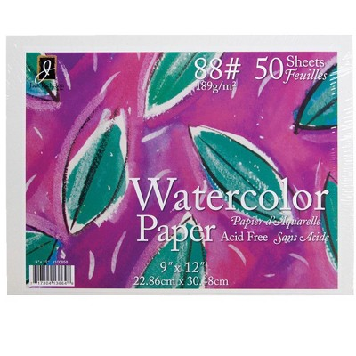 Jack Richeson Watercolor Paper, 9 x 12 Inches, 88 lb, White, 50 Sheets