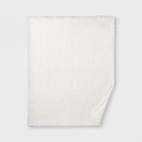 """60""""x50"""" Sherpa Throw Blanket Cream - Threshold™ - image 1 of 3"""