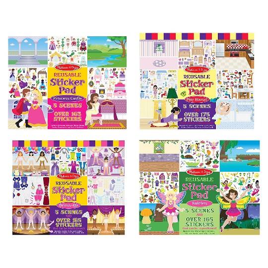 Melissa & Doug Reusable Sticker Pads Set: Fairies, Princess Castle, Play House, Dress-Up - 680+ Stickers image number null