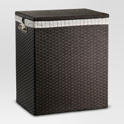 "24""x14""x20"" Lined Hamper Dark Brown Weave - Threshold™"