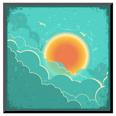 Art.com Vintage Sky Background With Sun And Dark Clouds On Old Paper Poster - Mounted Print - image 1 of 2