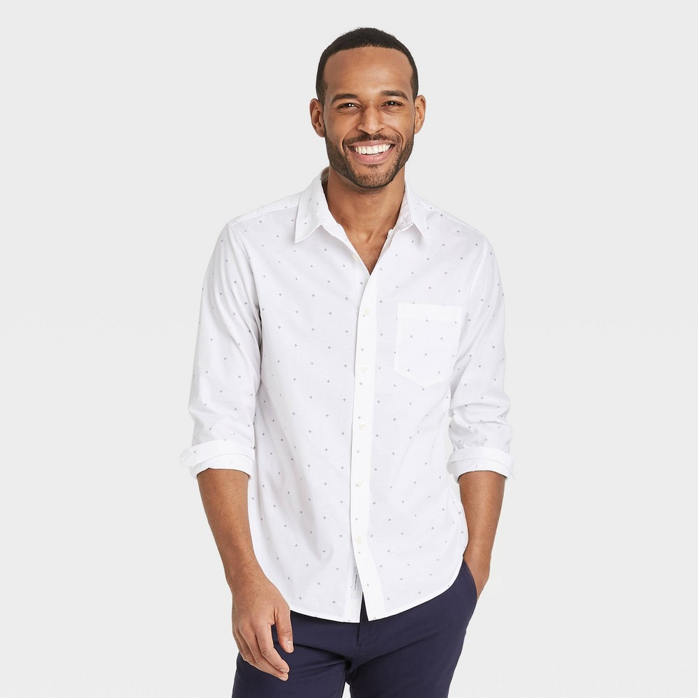 Men 39 S Floral Print Regular Fit Stretch Poplin Long Sleeve Button Down Shirt Goodfellow 38 Co 8482 True White Floral S