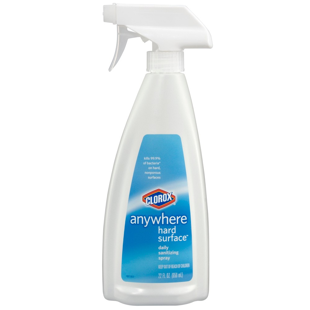 Clorox Anywhere Hard Surface Daily Sanitizing Spray 22 oz Clorox Anywhere Hard Surface Daily Sanitizing Spray kills 99.9 percent of germs throughout your home easily and effectively. This sanitizing spray kills bacteria on hard and nonporous surfaces. This sanitizing spray leaves behind no harmful residue and needs no wiping or rinsing. It is safe for food contact surfaces such as cutting boards, serving trays, kitchen tools and plastic containers. And it also works great on multiple bathroom and home surfaces such as countertops, sinks, tubs, toilets, door knobs, toys, appliances and more. Clorox Anywhere Hard Surface Daily Sanitizing Spray works wonders all over your home, any time you need it. Usage Directions: Spray it on the surface until its thoroughly wet. Let stand 2 minutes. Wipe with a paper towel or clean dishtowel if you want. No rinsing is necessary. For heavily soiled surfaces, a precleaning step is required. Caution Statements: Keep out of direct sunlight. Do not freeze.