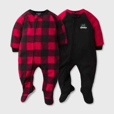 Gerber Baby Boys' 2pk Plaid Footed Pajama - Black 6-9M