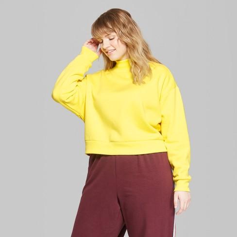 e5a420eab4bdb Women s Cropped Mock Neck Sweatshirt - Wild Fable™ Vibrant Yellow 3X    Target