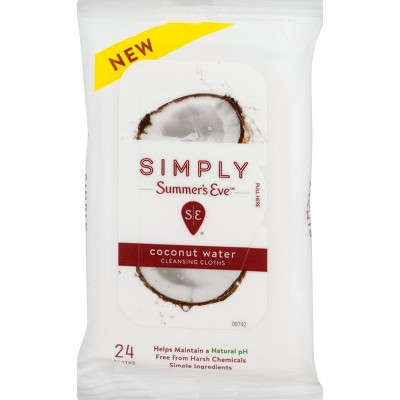 Simply Summer's Eve Coconut Water Cleansing Wipes - 24ct