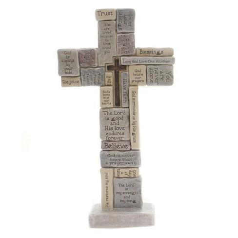 Home Decor 12 25 Crossword Table Cross Believe Trust Rejoice Spiritual Decorative Figurines Target