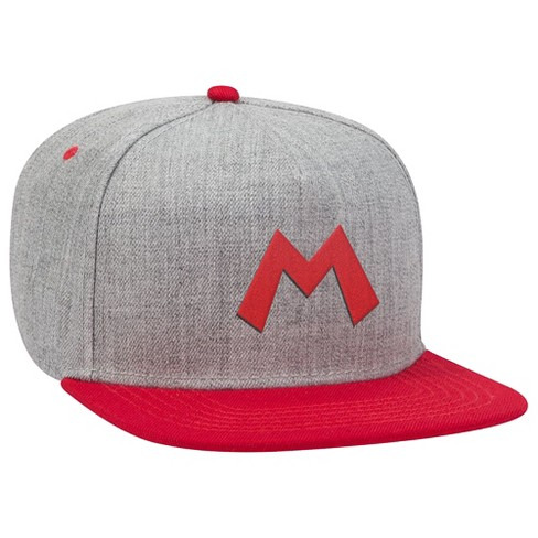 Super Mario: Red M Brimmed Hat - Gray/Red - image 1 of 1