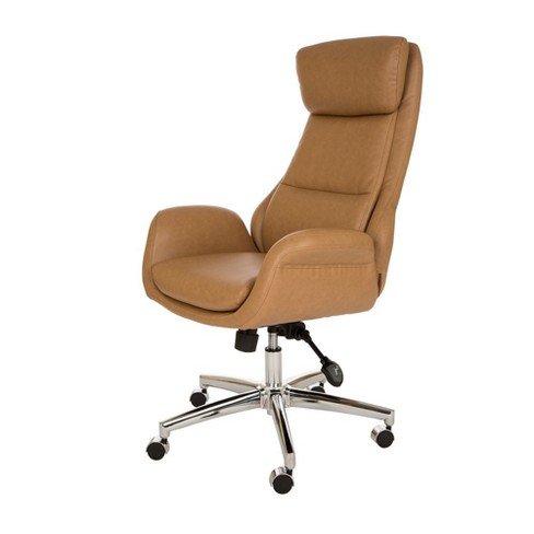 MidCentury Modern Bonded Leather Gaslift Adjustable Office Chair Camel -  Glitzhome